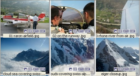 XnView thumbnail display shows what image metadata is present.