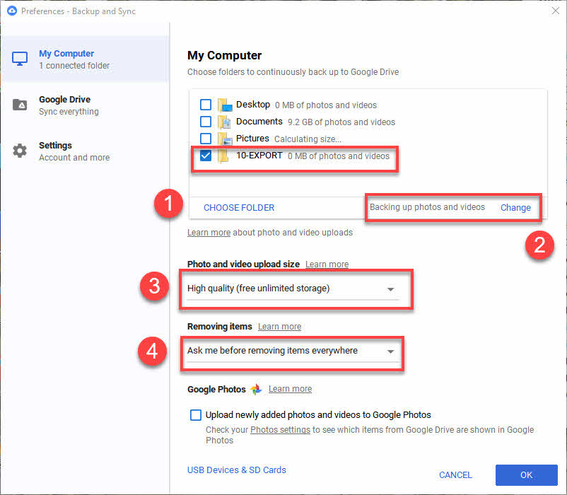 Google Backup & Sync configuration
