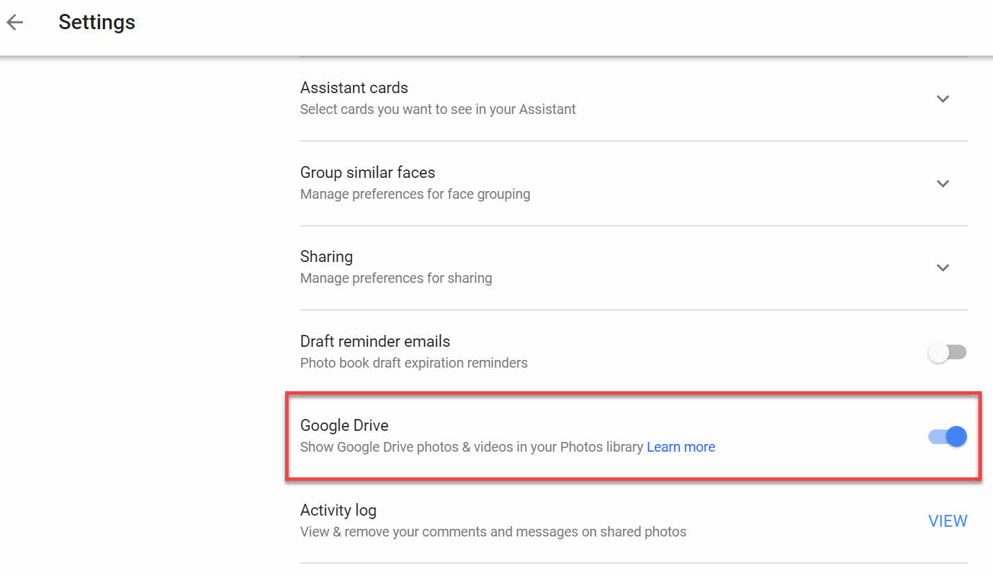 Google Photos linking to media content on Google Drive