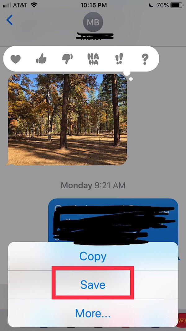 save text message images on ios by long press