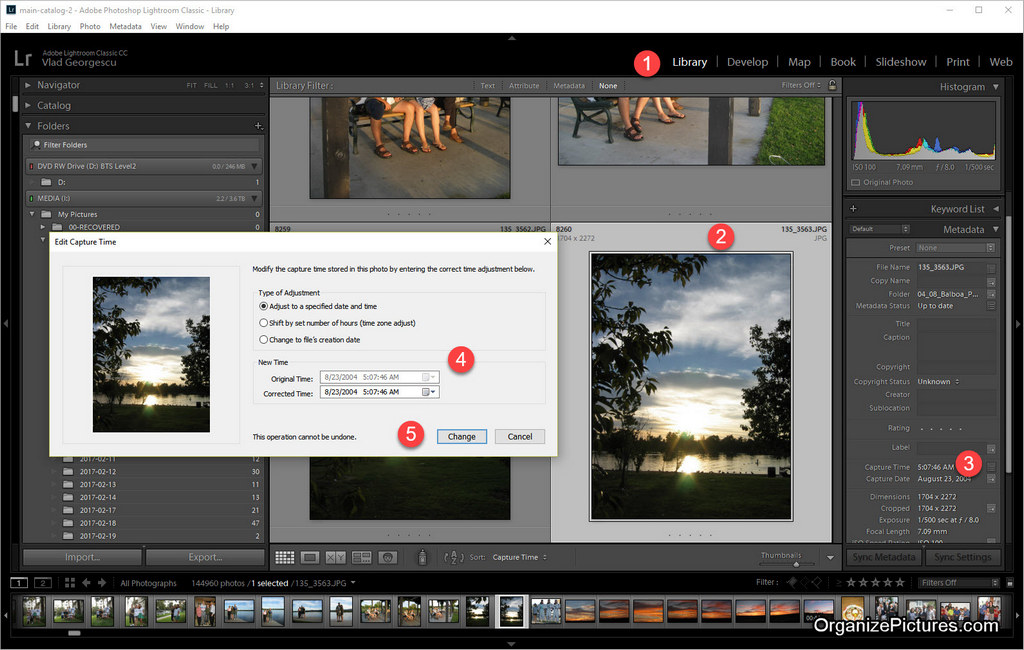 How to change photo date stamp in Adobe Lightroom