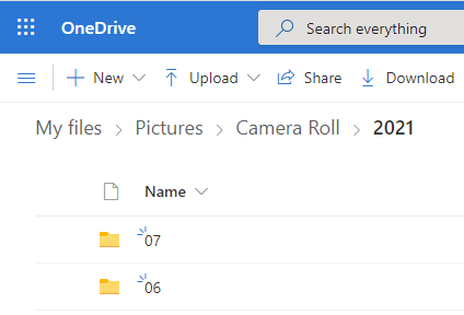 After turning on Camera Upload on OneDrive, the storage space reflects these choices