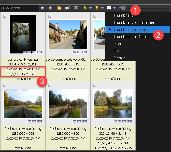 Check the EXIF metadata using XnView MP