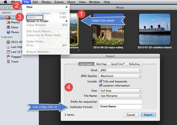 How to Export photos from iPhoto