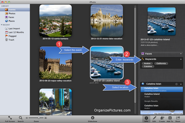 How to enter photo metadata in iPhoto