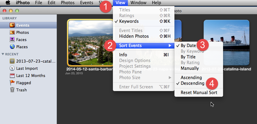 How to sort events by date in iPhoto