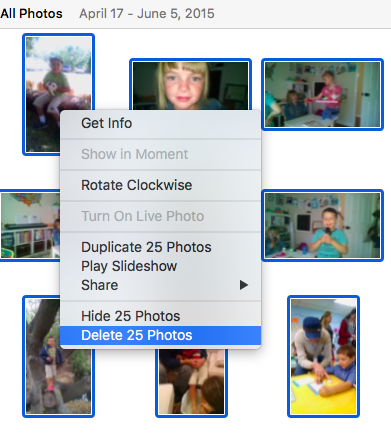 How to delete pictures from Photos