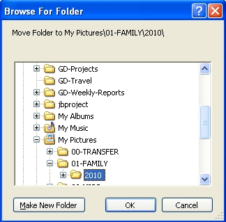 How to choose the destination folder in Picasa.
